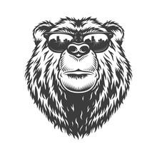 Vintage Monochrome Fashionable Serious Bear Head