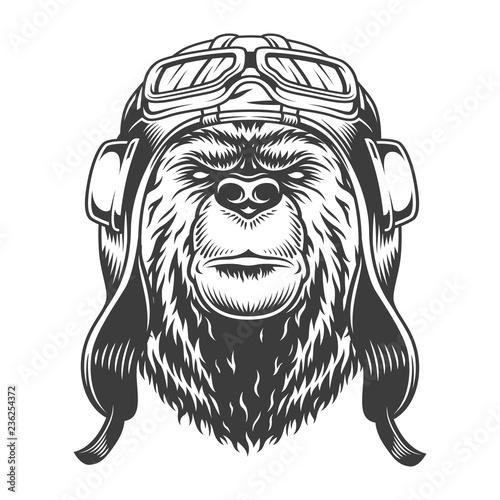 Obraz na plátne Bear head in helmet and goggles