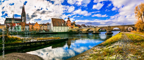 Best places of Bavaria (Germany) - picturesque Regensburg over Danube river
