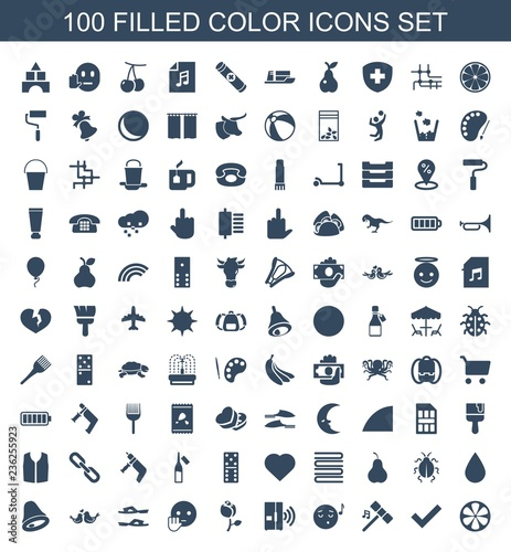 color icons  Set of 100 filled color icons included lemon