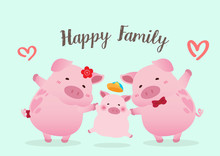 Happy Pigs Family Character Ve...