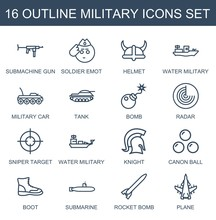 Military Icons. Set Of 16 Outline Military Icons Included Submachine Gun, Soldier Emot, Helmet, Water Military On White Background. Editable Military Icons For Web, Mobile And Infographics.