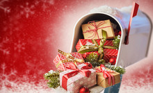 Mailbox Full Of Christmas Presents On Red