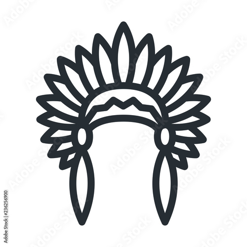 Photo Native American Headdress Apache Indian Hat Flat Line Stroke Icon Pictogram