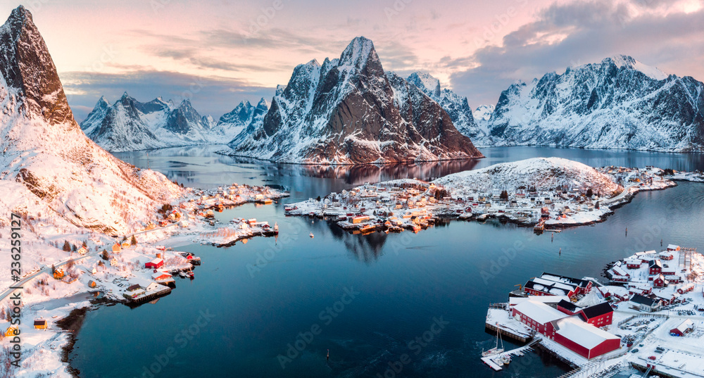 Fototapety, obrazy: Aerial view of fishing village in surrounded mountain on winter season