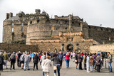 People in front of Edinburgh castle, Scotland