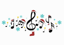 Musical Notes With Christmas Decorations
