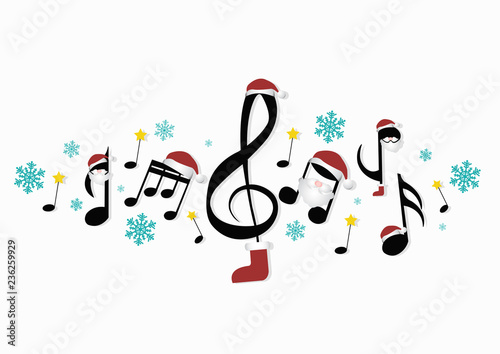 musical notes with Christmas decorations - 236259929