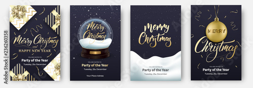 Obraz Christmas cards. Design layouts for Merry Xmas. Posters with snow globe, gifts, other Christmas decorations and lettering. - fototapety do salonu
