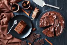 Chocolate Cake Served On A Plate