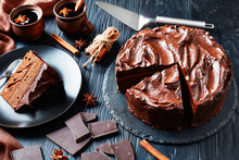Chocolate Cake Decorated With Chocolate Ganache