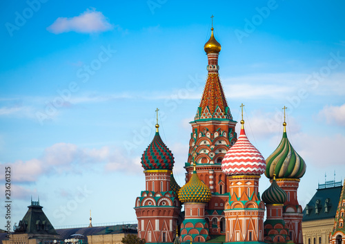 Panoramic view of St Basil's Cathedral in the morning with blue sky, Moscow, Russia