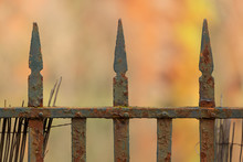 An Old Rusty, Metal Fence In A...