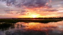 Beautiful Sunset Over Marsh Gr...