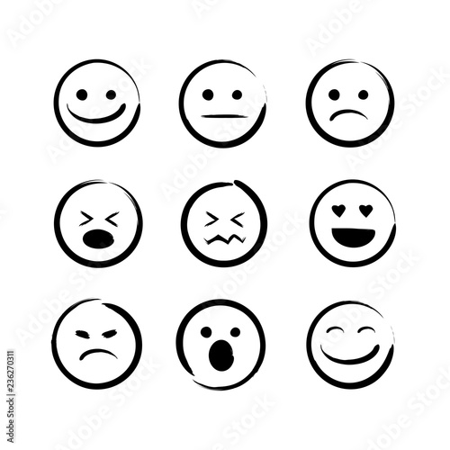 Fotografie, Obraz vector illustration set of hand drawn emojis faces