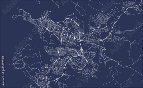 map of the city of Reykjavik, Capital Region, Iceland Canvas Print