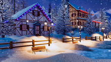 Cozy Snowbound Alpine Village High In Mountains With Half-timbered Rural Houses And Christmas Lights At Winter Night During Snowfall. With No People 3D Illustration.