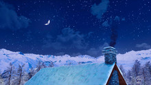 Snow Covered Roof And Smoking Chimney Of Rural House High In Alpine Mountains At Peaceful Winter Night With Half Moon In The Starry Sky. 3D Illustration.
