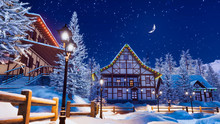 Cozy Snowbound European Town A...