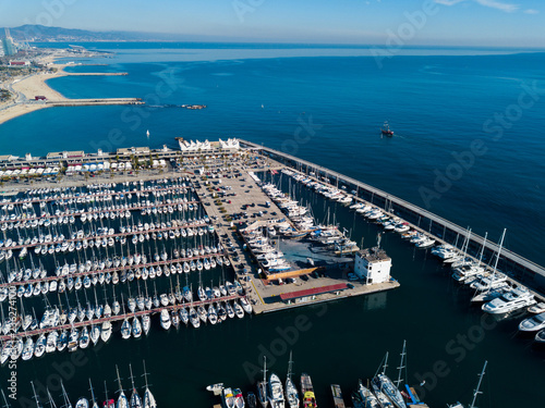Keuken foto achterwand Poort View from drone of ports of Barcelona, Spain