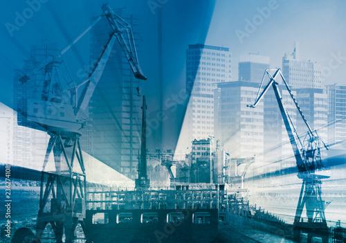 Foto op Aluminium Poort Blurred industrial landscape