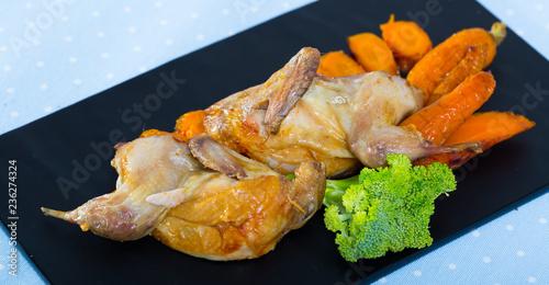 Teriyaki partridge with grilled carrots Fototapeta
