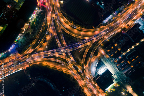 Photo Aerial photography of overpass night scene