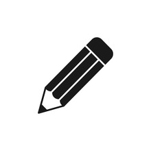 Black Isolated Icon Of Pencil On White Background. Silhouette Of Pencil. Flat Design.