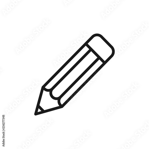 Slika na platnu Black isolated outline icon of pencil on white background