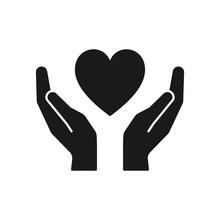 Black Isolated Icon Of Heart In Hands On White Background. Silhouette Of Heart And Hands. Symbol Of Care, Love, Charity.