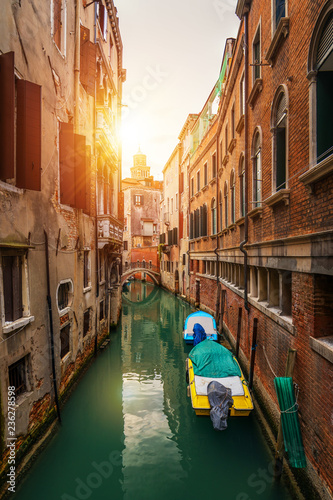 In de dag Centraal Europa Street canal in Venice, Italy. Narrow canal among old colorful brick houses in Venice, Italy. Venice postcard