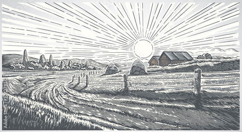 Keuken foto achterwand Grijs Rural landscape with village in engraving style. Vector Illustration.