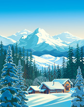 Winter Mountain Landscape With Fir-trees In The Foreground With Houses Similar To Shelters For Tourists. Vector Illustration.