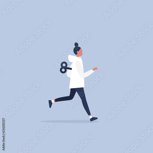 Stampa su Tela Young active female character running with a clockwork mechanism