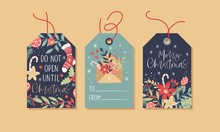 Christmas Gift Tags Set With Handwritten Text And Decorative Elements.