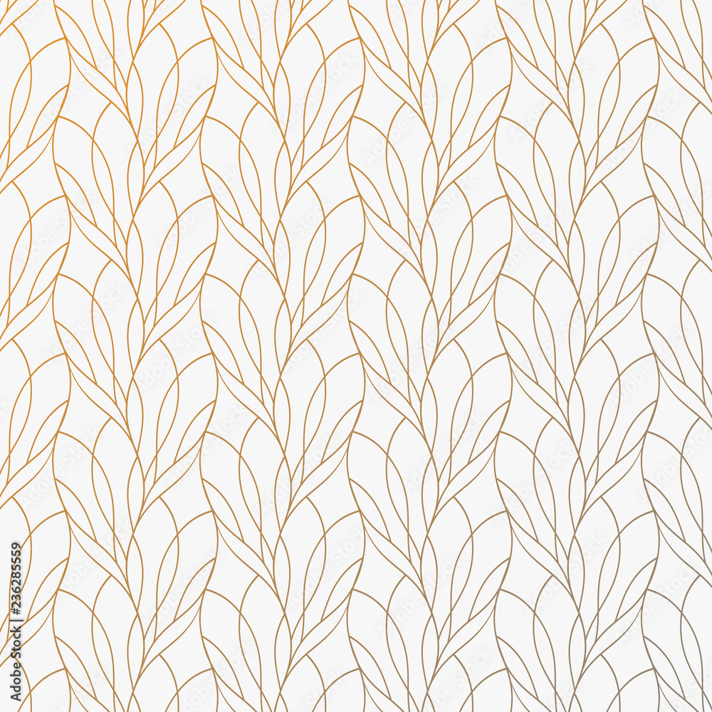 Fototapety, obrazy: Flower petal or leaves geometric pattern vector background. Repeating tile texture of this line on oval shape with gradient effect. Pattern is clean usable for wallpaper, fabric, printing.