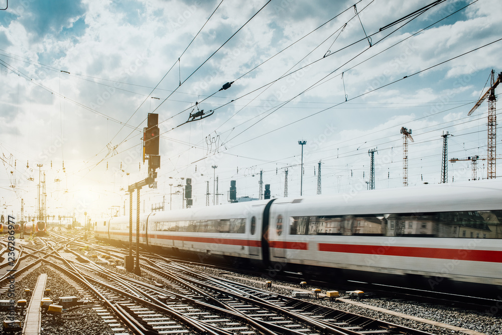 Fototapety, obrazy: Zug fährt vom Frankfurter Bahnhof ab