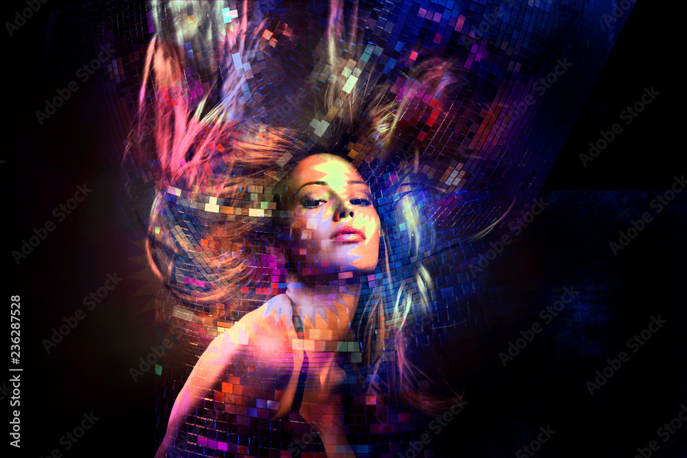 Fototapeta colorful dance party girl with hair in motion