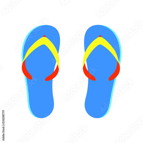 9cf042110948 Beach slippers flip flops flat style design vector illustration isolated on white  background icon sign.