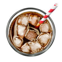 Fresh Coke In Glass, Top View Or High Angle Shot Coca Cola With Ice And Drinking Straw, Isolated On White Background.