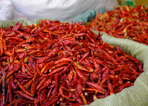 Photo  Dried red chilli or chilli cayenne pepper