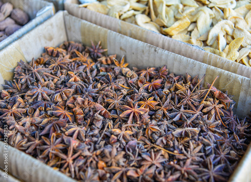 Star anise (Illicium verum) and anise seed Canvas Print