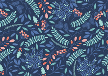 Winter Seamless Pattern With Holly Berries, Branches And Leaves. Vector
