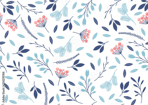 Fototapety, obrazy: Winter seamless pattern with leaves and branches. Vector
