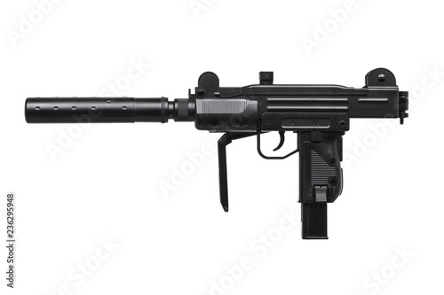 submachine gun with silencer isolated on white Canvas Print