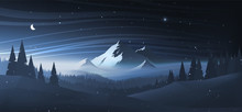 Night Mountain Winter Landscape. Vector Illustration