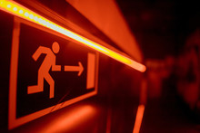 Red Exit Sign, Evacuation Sign...