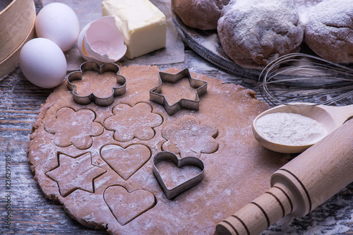 Fresh Natural Ingredients For Homemade Christmas Biscuits Cookies