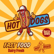 Hot Dogs Mascot For Fast Food