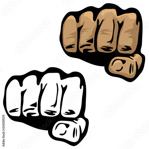Fist Hand Vector Illustration in Color and Black and White Canvas Print